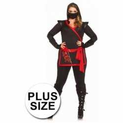 Rood zwart ninja kleding feest dames