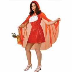 Roodkapje jurk feest dames rode pailletten cape