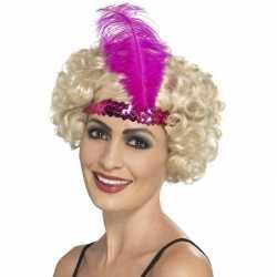Roze charleston hoofdband feest dames