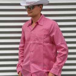 Roze cowboy overhemd ruitjes