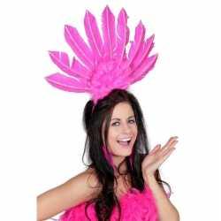 Roze haarband veren feest dames