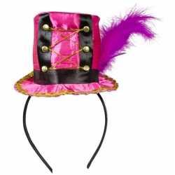 Roze hoedje op diadeem feest dames