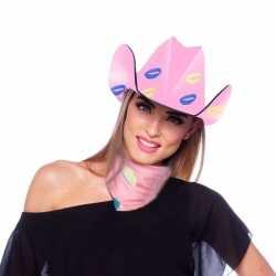 Roze kartonnen cowboyhoed lippen/kusjes feest dames