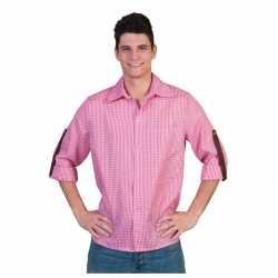 Roze wit overhemd ruitjes