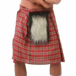 Schotse verkleed kilt rood bontje feest heren
