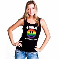 Smile if you are gay emoticon tanktop/ singlet shirt zwart dames