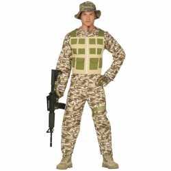 Soldaat verkleed pak/kleding camouflage/woestijn feest heren