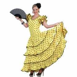 Spaanse flamencojurk geel zwarte stippen