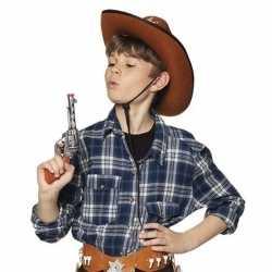 Speelgoed cowboy revolver/pistool zilver 20 centimeter