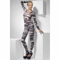 Strakke jumpsuit camouflage afgebeeld