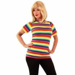 T shirt regenboog strepen feest dames