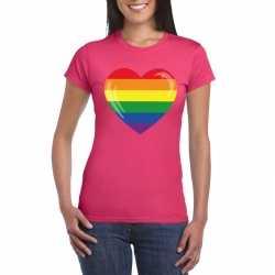 T shirt regenboog vlag in hart roze dames