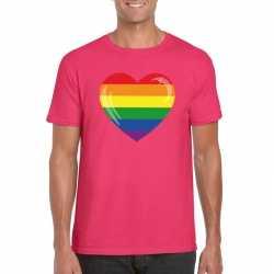 T shirt regenboog vlag in hart roze heren