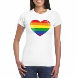 T shirt regenboog vlag in hart wit dames