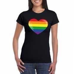 T shirt regenboog vlag in hart zwart dames
