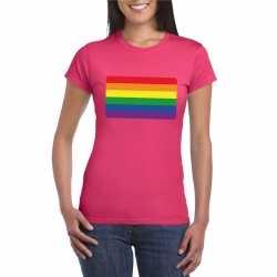 T shirt regenboog vlag roze dames