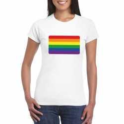 T shirt regenboog vlag wit dames