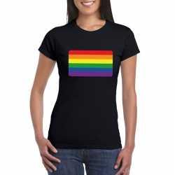 T shirt regenboog vlag zwart dames