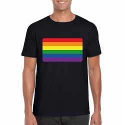 T shirt regenboog vlag zwart heren
