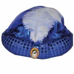 Toppers blauw arabisch sultan hoedje diamant veer