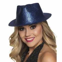Toppers blauw trilby hoedje glitters feest dames