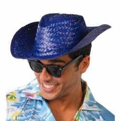 Toppers blauwe cowboy/strohoed feest volwassenen