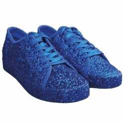 Toppers blauwe glitter disco sneakers/schoenen feest dames