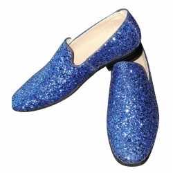 Toppers blauwe glitter pailletten disco instap schoenen feest heren