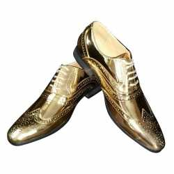 Toppers gouden glimmende brogues/disco schoenen feest heren