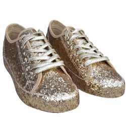 Toppers gouden glitter disco sneakers/schoenen feest dames