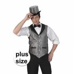 Toppers grote maat zilver/zwart verkleed gilet feest heren