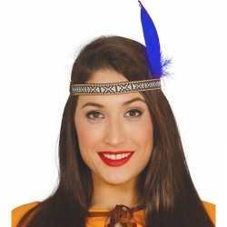 Toppers indianen verkleed hoofdband blauwe veer feest volwassenen