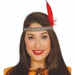 Toppers indianen verkleed hoofdband rode veer feest volwassenen