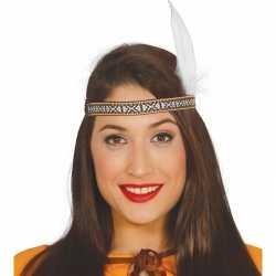 Toppers indianen verkleed hoofdband witte veer feest volwassenen