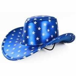 Toppers metallic blauwe cowboyhoed sterren feest volwassenen