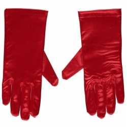 Toppers rode gala handschoenen kort van satijn 20 centimeter