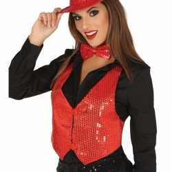 Toppers rode verkleed gilet pailletten feest dames