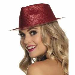 Toppers rood trilby hoedje glitters feest dames
