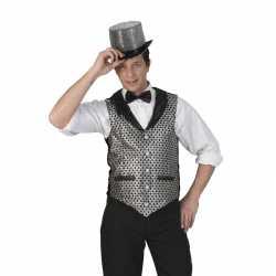 Toppers zilver/zwart verkleed gilet feest heren
