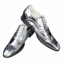 Toppers zilveren glimmende brogues/disco schoenen feest heren