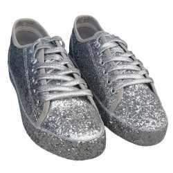 Toppers zilveren glitter disco sneakers/schoenen feest dames