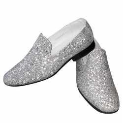 Toppers zilveren glitter pailletten disco instap schoenen feest heren