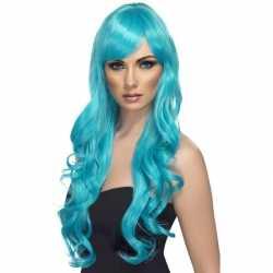 Turquoise blauwe pruik feest dames