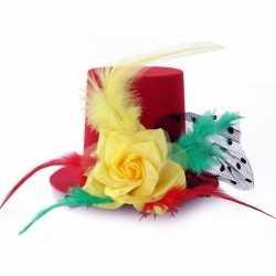 Verkleed mini hoge hoed rood/geel/groen feest dames