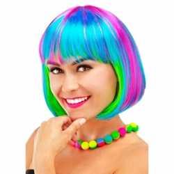 Verkleed regenboog pruik feest dames