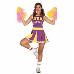 Verkleedkleding paarse cheerleader feest dames