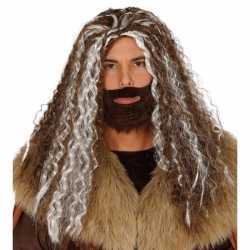Viking pruik bruin grijs feest heren