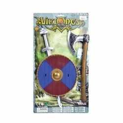 Viking zwaard rood/blauw schild bijl set