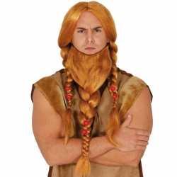 Vikingen verkleedpruik rood baard