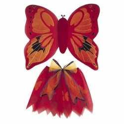 Vlinder vleugels verkleed set rood feest kinderen